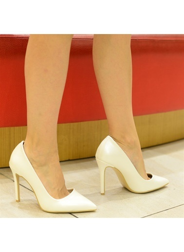 La scada Mr294 Beyaz Sedef Kadın Stıletto Ayakkabı Beyaz